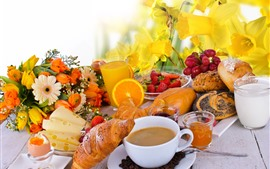 Preview wallpaper Breakfast, bread, coffee, flowers, strawberry, cheese