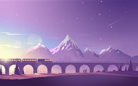 Preview wallpaper Bridge, train, mountains, vector art picture