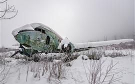 Preview wallpaper Broken plane, snow, winter
