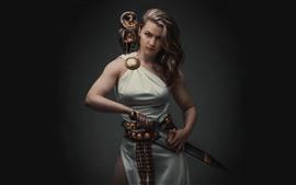 Menina de cabelos castanhos, espada, coruja, estilo retro