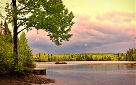Preview wallpaper Canada, lake, trees, house, clouds, dusk