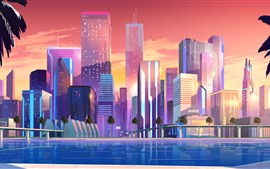 City, skyscrapers, vector picture