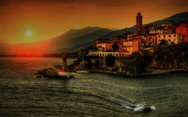 Preview wallpaper Coast, city, sea, boats, sunset, mountains, dusk