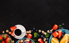 Preview wallpaper Coffee, strawberry, blueberry, black background