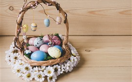 Preview wallpaper Colorful eggs, basket, white flowers, Easter
