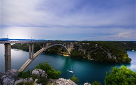 Preview wallpaper Croatia, river, bridge, boat