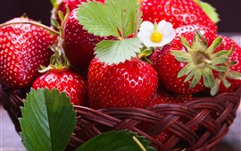 Preview wallpaper Delicious strawberries, fruit, flowers