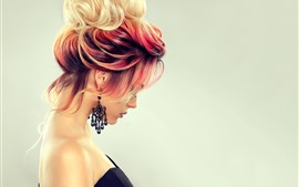 Fashion girl, hairstyle, colors, side view