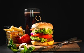 Preview wallpaper Fast food, hamburger, cola