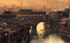 Fenghuang County, Xiangxi, Hunan, village, bridge, river, retro