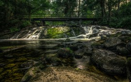 Finland, Karkkila, trees, bridge, rocks, creek