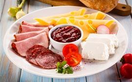 Comida, carne, queso.