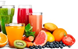 Preview wallpaper Fruit juice, glass cups, drinks, kiwi, banana, blueberry, oranges