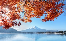 Preview wallpaper Fuji Mountain, red maple leaves, lake, autumn, Japan