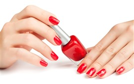 Preview wallpaper Girl's fingers, red lacquer, manicure