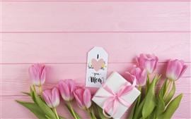 Vorschau des Hintergrundbilder Glücklicher Muttertag, rosa Tulpen, Geschenk