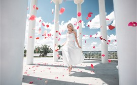 Preview wallpaper Happy blonde girl, white skirt, bride, roses