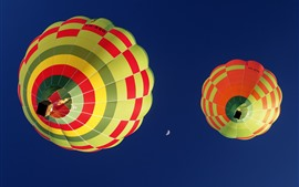 Preview wallpaper Hot air balloon, blue sky, moon