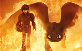Preview wallpaper How to Train Your Dragon 3, fire, sword