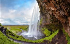 Islândia, Seljalandsfoss, bonito, cachoeira, natureza, paisagem