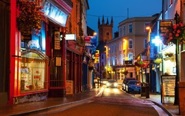 Preview wallpaper Ireland, city at night, houses, street, lights