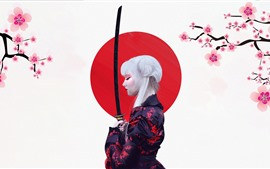 Preview wallpaper Japanese girl, kimono, sakura, sword, art picture