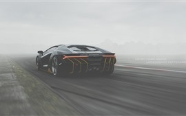 Preview wallpaper Lamborghini, black supercar back view, fog
