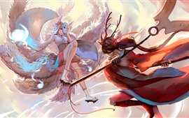 Preview wallpaper League of legends, two girls, art picture