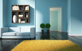 Preview wallpaper Living room, sofa, plants, book, wood floor, design