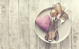 Preview wallpaper Love heart, spoon, fork