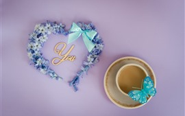 Preview wallpaper Love you, love heart, flowers, coffee, butterfly