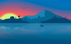 Preview wallpaper Mountains, lake, sunrise, boat, fisher, art picture