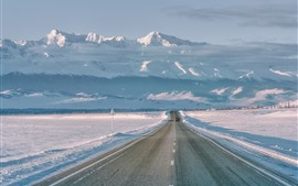 Preview wallpaper Mountains, snow, white world, road