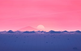 Mountains, sunset, red sky, vector picture