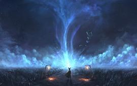 Ночь, трава, кролик, магия, облака, фэнтези-арт картина