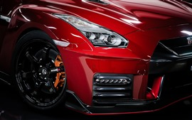 Nissan GTR red car front view, headlight