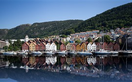Preview wallpaper Norway, Bryggen, yachts, houses, sea