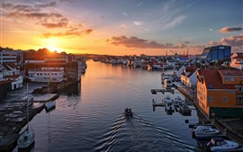 Preview wallpaper Norway, Haugesund, city, river, morning, sunrise