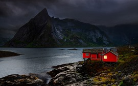 Preview wallpaper Norway, Nordland, houses, mountains, clouds, lake, dusk