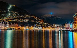 Preview wallpaper Norway, night, lake, city, lights, mountains