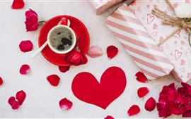 Preview wallpaper One cup coffee, red roses, gift, love heart
