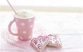 Preview wallpaper One cup of ice cream, love hearts