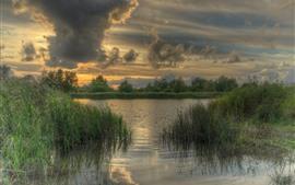 Dia nublado, grama, rio, água, nuvens, crepúsculo