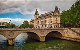 Paris, frança, rio sena, ponte, edifícios, cidade, pessoas