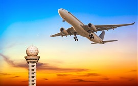 Preview wallpaper Passenger plane, flight, tower