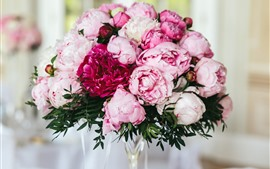 Pink peonies, flowers, bouquet, hazy background