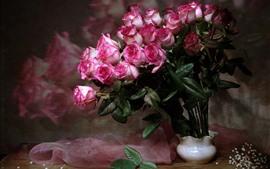 Rosas cor de rosa, seda, vaso, buquê
