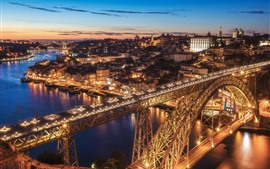 Preview wallpaper Portugal, Porto, river, bridge, city, lights, buildings