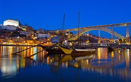 Preview wallpaper Portugal, river, bridge, boats, lights, night, city