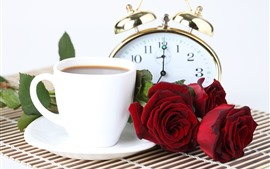 Preview wallpaper Red roses, coffee, pocket watch